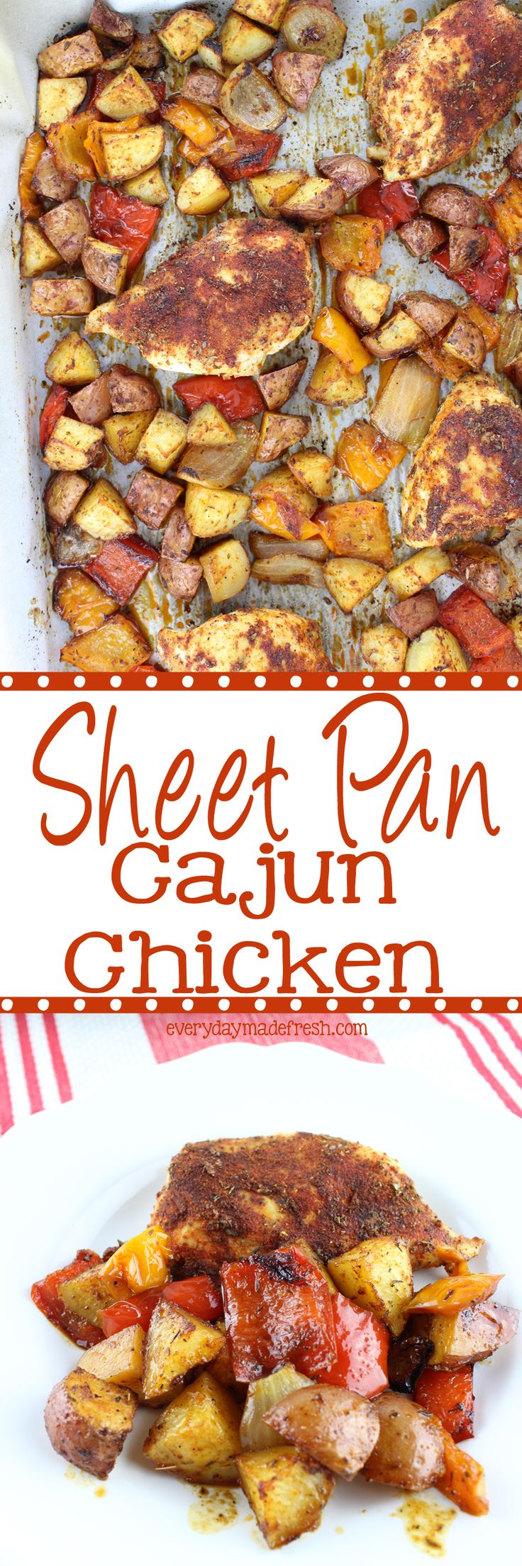 A sheet pan lined with foil for virtually no clean-up, chicken breasts, potatoes, peppers, and onions topped with a Cajun spice mix make this Sheet Pan Cajun Chicken a week-night favorite! | EverydayMadeFresh.com http://www.everydaymadefresh.com/sheet-pan-cajun-chicken-3-2/
