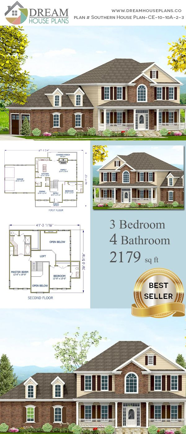 Dream House Plans: Unique Custom Luxury 3 Bedroom, 2179 Sq. Ft. House Plan  With Porches. Shop Our Exclusive Collection Of Small, Large, Simple And  Luxury ...