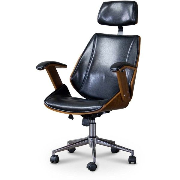 Baxton Studio Hamilton Walnut Black Faux Leather Office Chair With 199