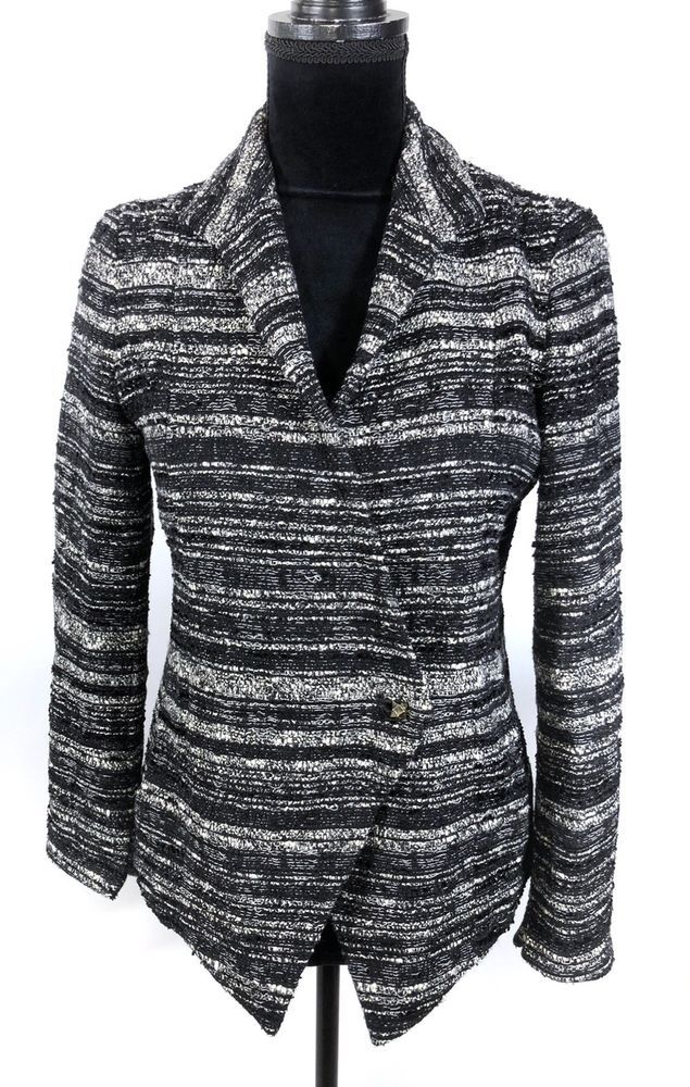 MM. LaFleur The Wells Tweed Jacket Size 6 Black/Cream