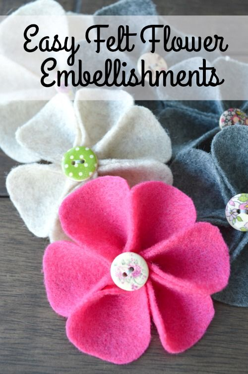 Want to make some cute little flowers as embellishments for your sewing projects? These only take about 10 minutes and cost less than $0.10 to make!