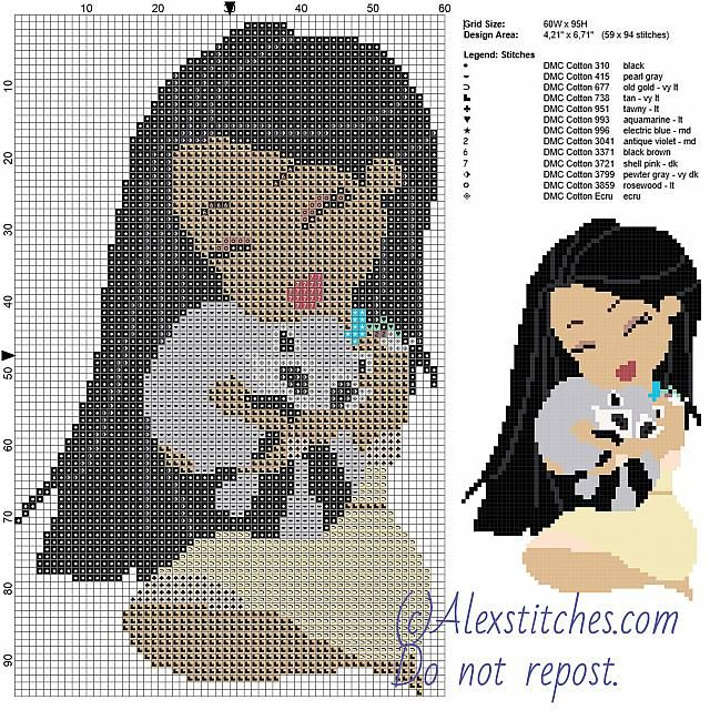 Pocahontas and Meeko free disney cross stitch pattern 60x95 13 colors