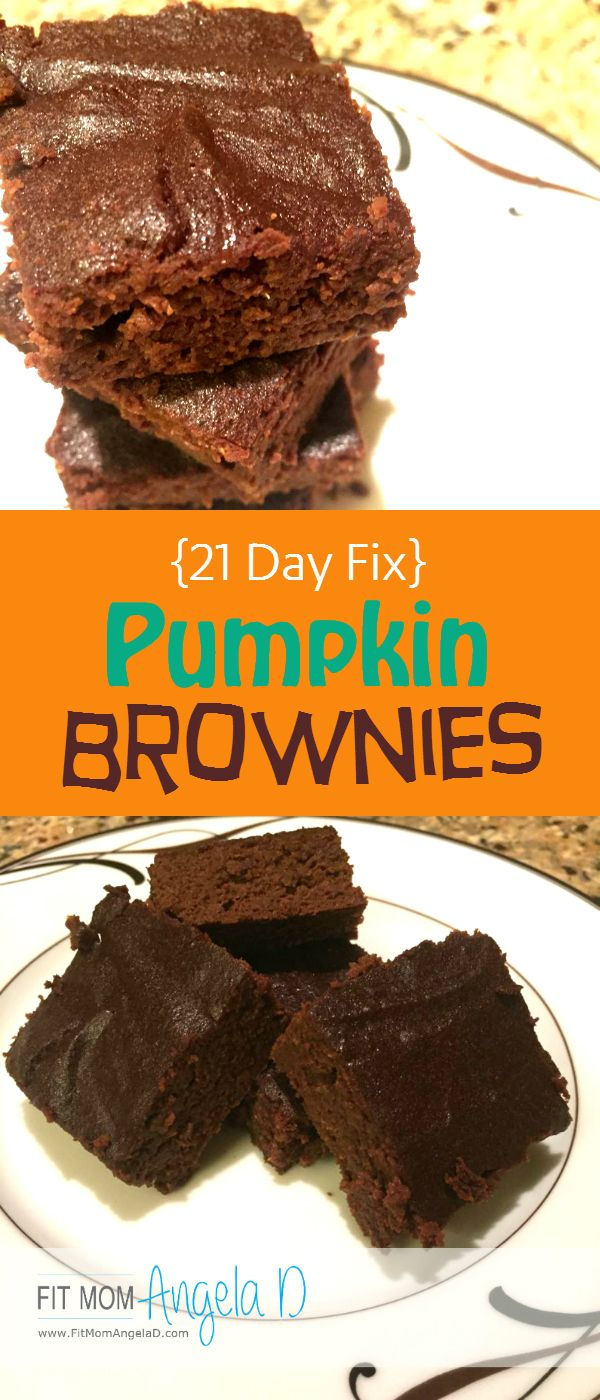 21 Day Fix Approved Pumpkin Brownies | Clean Eats | www.FitMomAngelaD.com | Healthy Dessert | Treat Swap | Chocolate