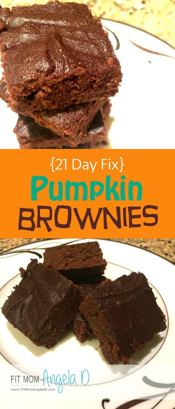 21 Day Fix Approved Pumpkin Brownies   Clean Eats   www.FitMomAngelaD.com   Healthy Dessert   Treat Swap   Chocolate