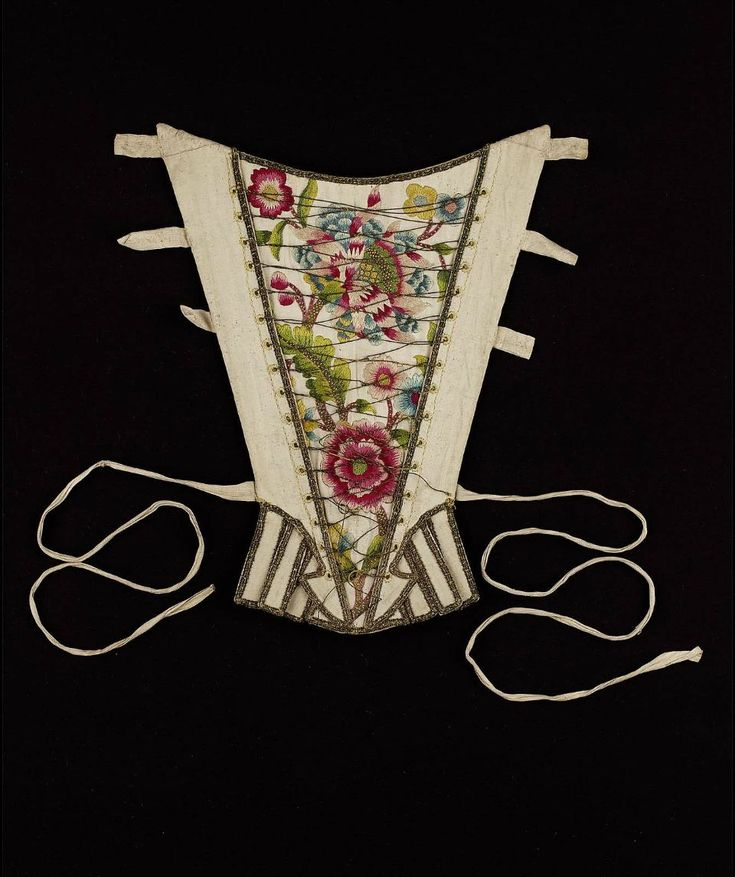 Stomacher Embroidered with Polychrome Floral Motifs, English, 1730-1740.