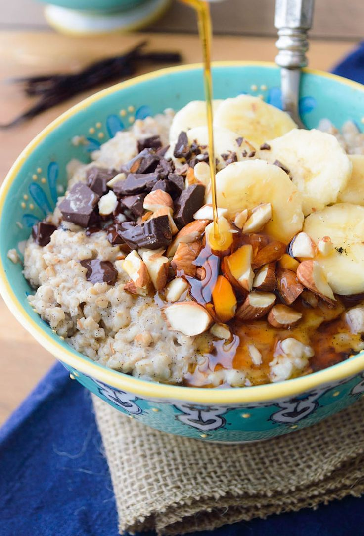 Slow Cooker Vanilla Bean Steel Cut Oats sweetened with maple and cinnamon. The perfect comfort food breakfast to wake up to!