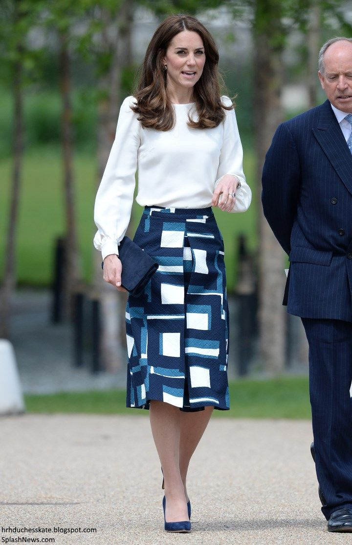 hrhduchesskate:  Heads Together Launch, Queen Elizabeth Olympic Park, May 16, 2016-The Duchess of Cambridge paired a cream 'Binkyy Blouse' by Goat with a 'Blue Geo Jacquard' Midi Skirt from Banana Republic and accessorized with her Rupert Sanderson 'Malory' pumps, L.K.  Bennett Frome clutch, Cartier Ballon Bleu watch and her diamond and sapphire drop earrings