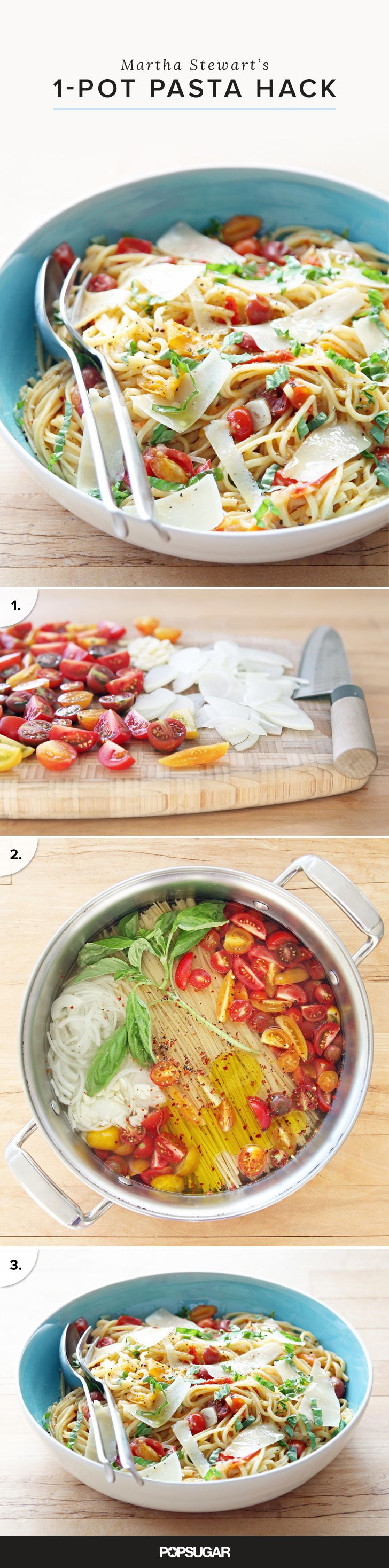 "This seemingly brilliant concept from Martha Stewart Living caused quite a stir on the Internet when it was published in 2013 — search ""Martha Stewart one-pot pasta"" to see what we're talking about — because who doesn't love a no mess pasta recipe?"