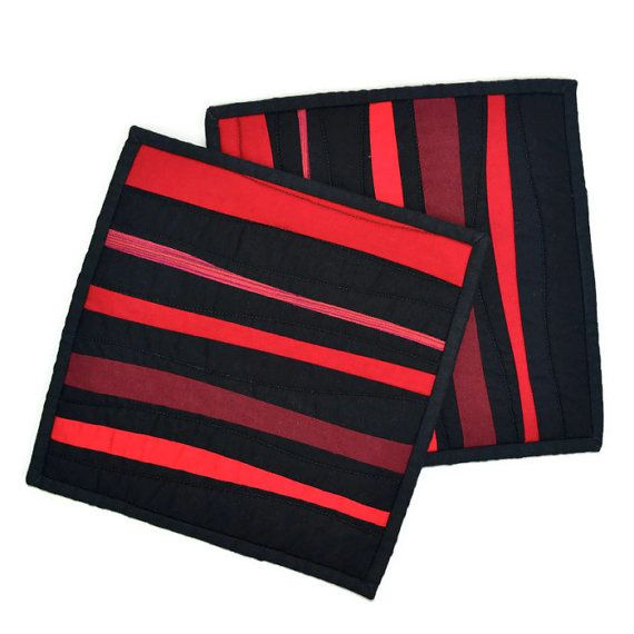 Black Pot Holders Modern Potholders Red And Black