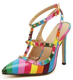 2015 Summer Hot Design Women's Rainbow Pumps Pointed Rivet Sandals Elegant  Valentine Leather Party Salon Shoes