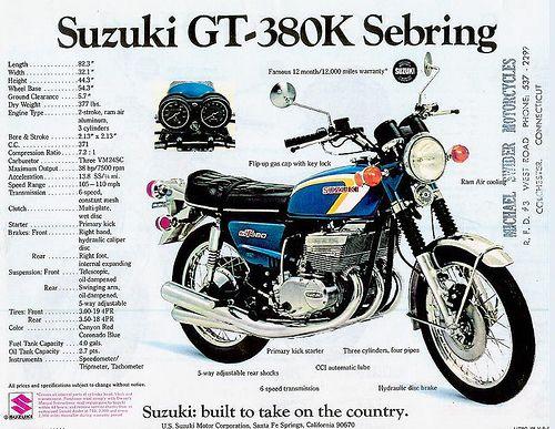 1973 Suzuki GT380K brochure sebring | Denise & Rick | Flickr
