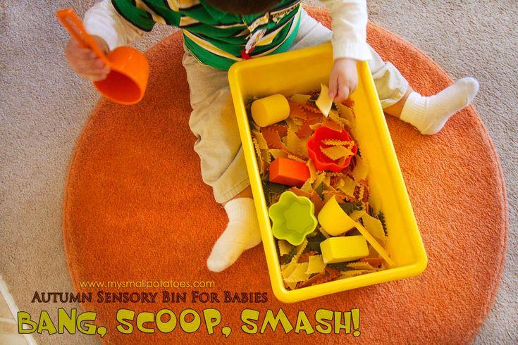 Bang, Scoop, Smash! An Autumn Sensory Bin for Babies...via www.mysmallpotatoes.com: State, Sensory Bins, Fall Sensory Bin Toddlers, Sensory Ideas, Toddler Time