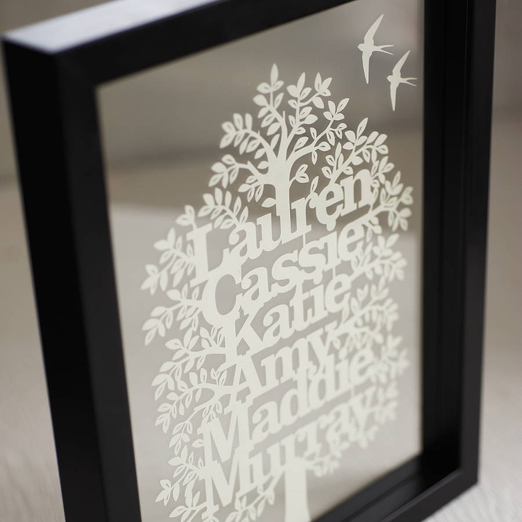 Personalised Family Tree Papercut - NOTHS