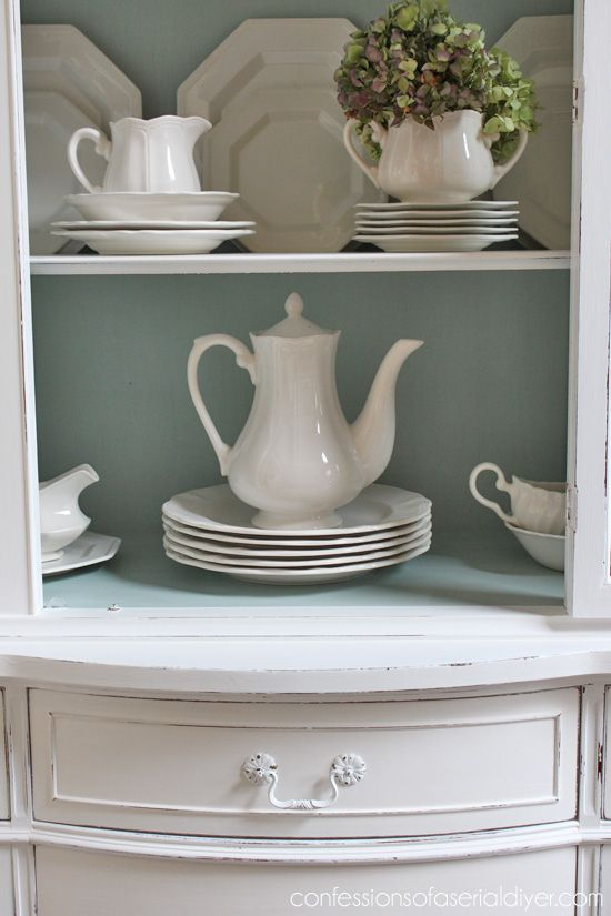 Duck Egg Blue and White China Cabinet | Confessions of a Serial Do-it-Yourselfer
