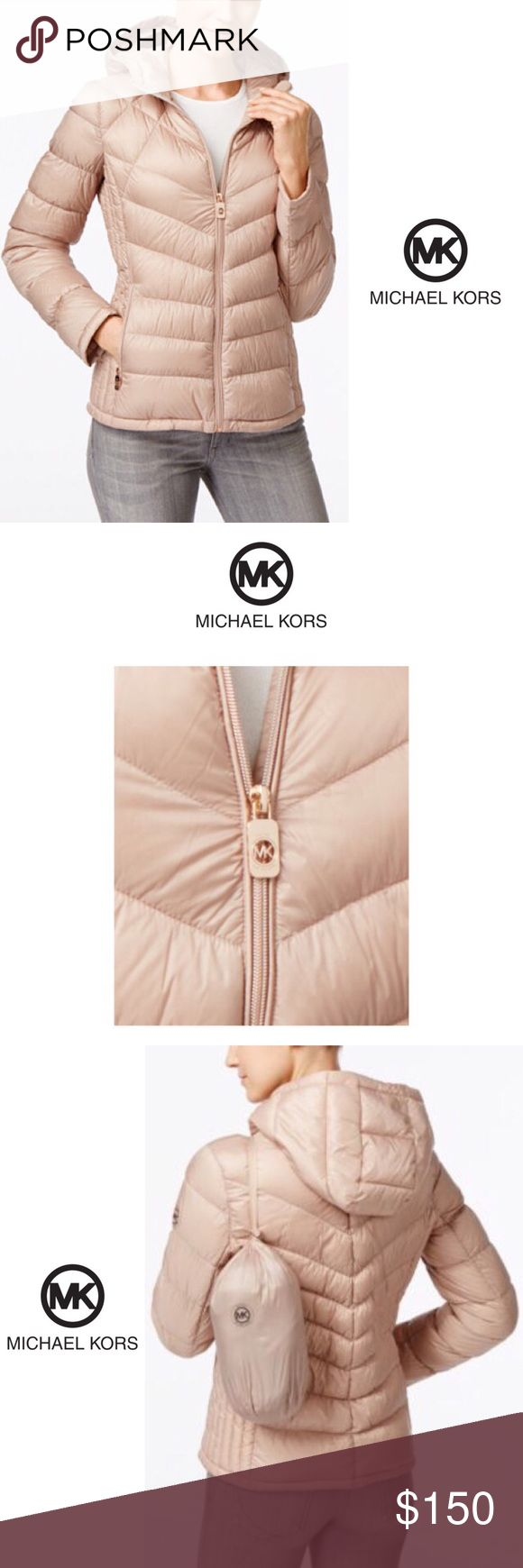 ❤️NEW➰HP➰Michael Kors➰Packable Coat➰CHAMPAGNE[L]• BOUTIQUE • \\Michael Kors// NWT ::: MICHAEL Michael Kors Chevron Hooded Packable Down Puffer Coat ::: Size (L) Color[Champagne] ::: Originally [$175]• Michael Kors Jackets & Coats Puffers