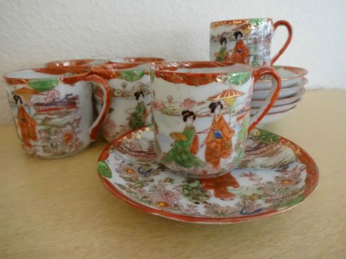 Set Of 6 Vintage Japanese Porcelain Demitasse Tea Cup