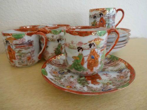 Set Of 6 Vintage Japanese Porcelain Demitasse Tea Cup