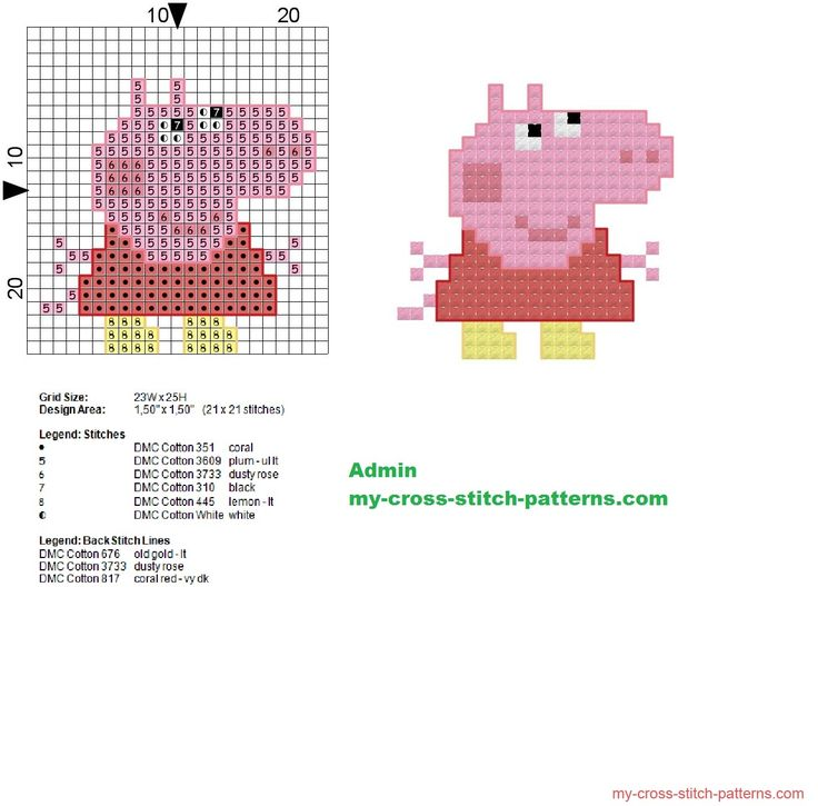 Peppa Pig small cross stitch pattern 21x21 - 1312x1294 - 307055