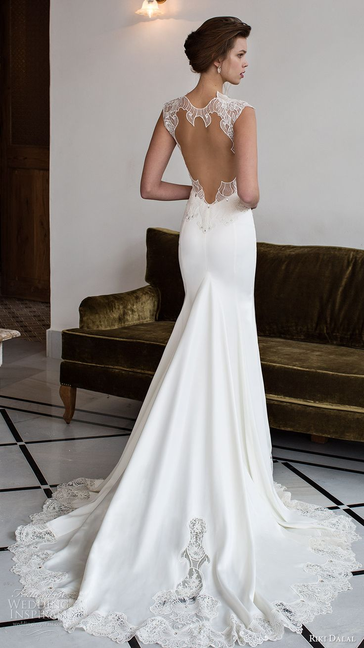 riki dalal bridal 2016 cap sleeves sweetheart illusion jewel sheath trumpet lace bodice wedding dress (1801) bv keyhole back train elegant