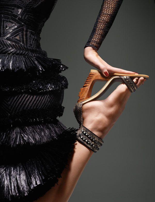 Put on the tribal glitz. Natural materials meet their match in reflective metallics.    Dress, Tom Ford. 212-359-0300. Sandal, $1,295, Donna Karan New York. 866-240-4700.