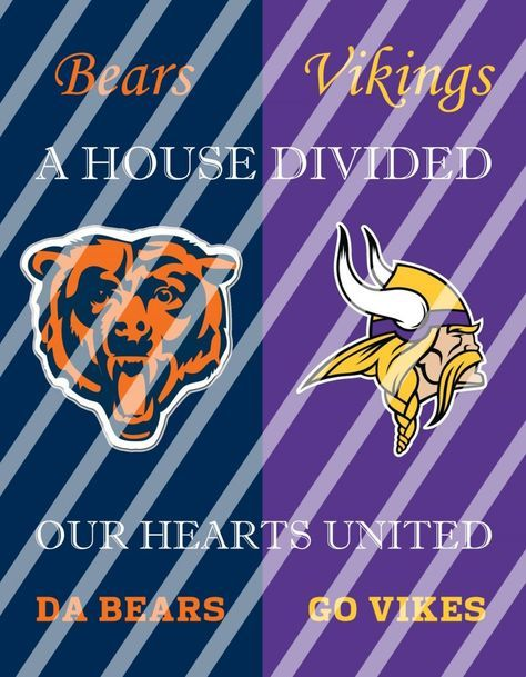 Bears Vikings House Divided Wall Decor Sign (instant download,print,framed)