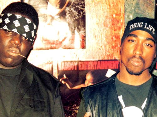2 pac and biggie small B.I.G. vintage hip hop outfit