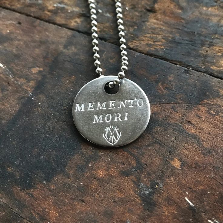 """MEMENTO MORI Stainless Steel Coin Necklace """"Remember you"""