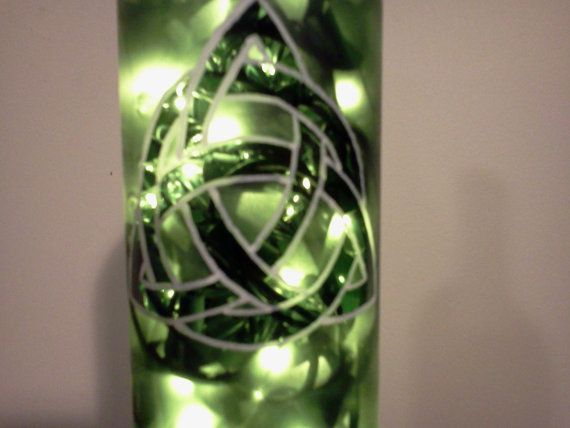 Celtic knot lighted wine bottle
