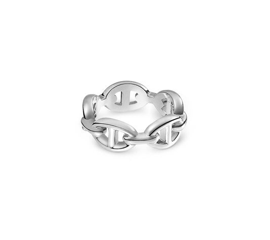 Chaîne d'Ancre Enchaînée Hermes ring in silver, PM, size 54