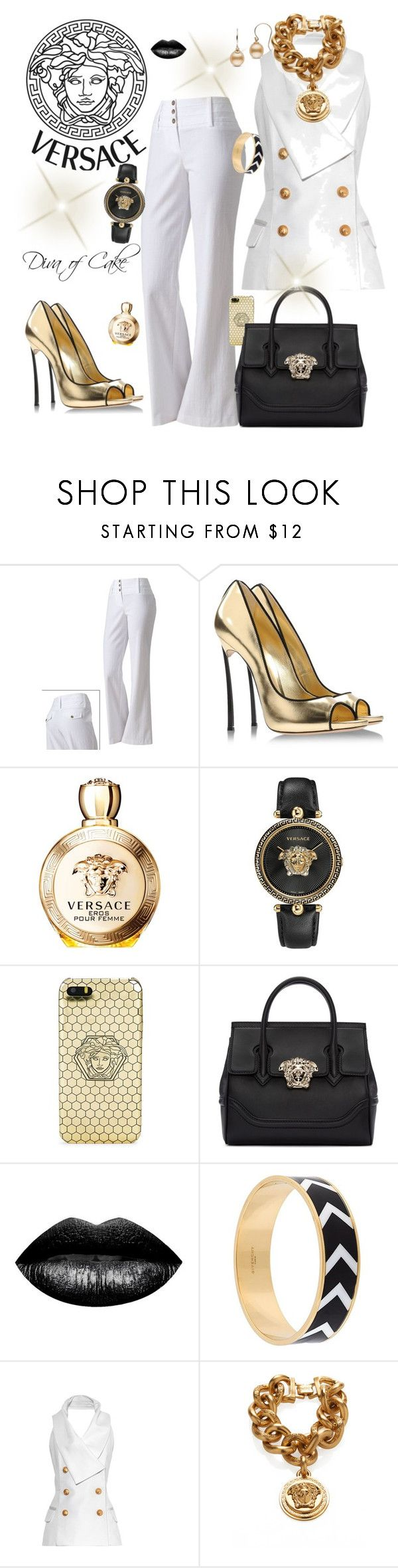 """Versace White black and gold outfit"" by Diva of Cake on Polyvore featuring Byer California, Casadei, Versace, The Lip Bar, Givenchy and Balmain"