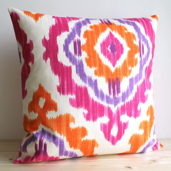 Orange and Pink Ikat Pillow Cover - 16 x 16 Ikat Cushion Cover - Ikat Tribal Tangerine via Etsy