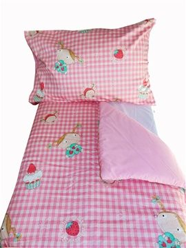 Super cute pink check with little girls, cakes and strawberry design cot/toddler bed duvet and pillow case set. Complimentary pink underside to duvet and pillow case. For only R350