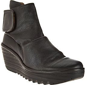 Fly London As Is Leather Ruched Ankle Boots - Yegi