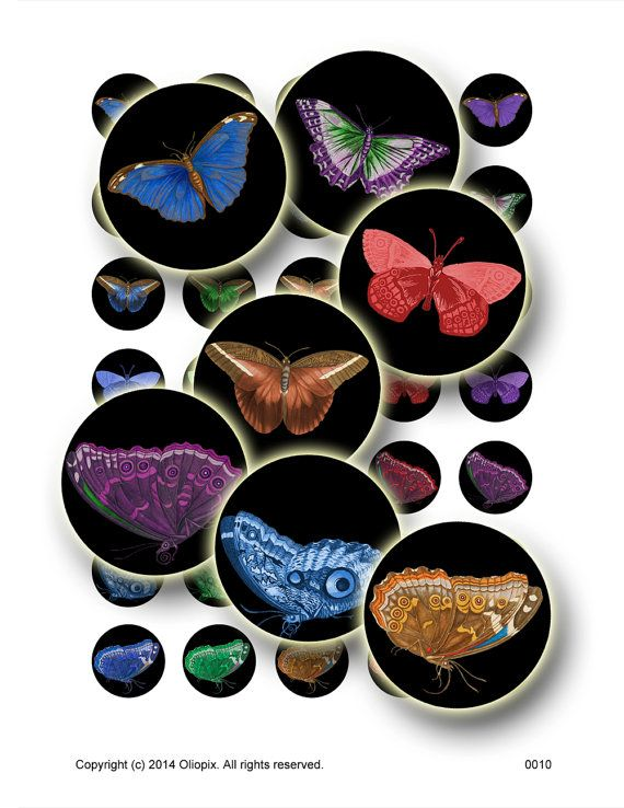 Vintage Butterflies on Black Circles, Digital Collage Sheet, 35 1 inch round images