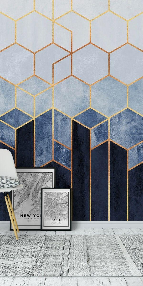 Soft Blue Hexagons Wall Mural Art Deco Wallpaper Wall Paint