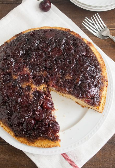 Cherry-Cornmeal Upside-Down Cake | BERRIES! (and Cherries) | Pinterest