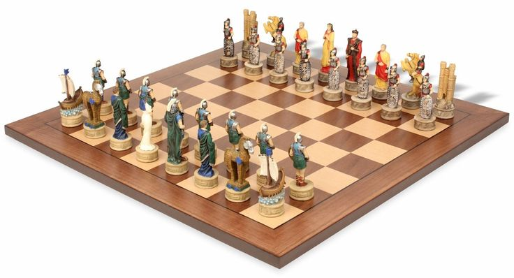 Battle of Troy Theme Chess Set Package - The Chess Store