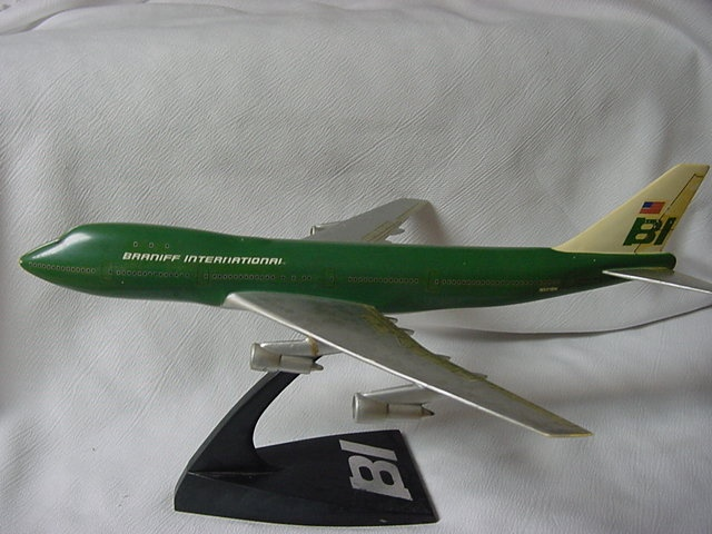 Vintage Green Braniff Model Airplane Boeing 747 Jet One