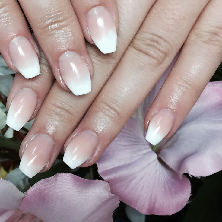 Beautiful #babyboomer #coffin #scultpedextensions using Hand & Nail Harmony #polygel from NailHarmonyUK/Gelish