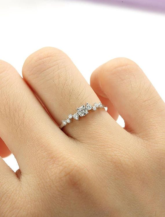 Unique Engagement Ring White Gold Diamond Cluster Twig Ring