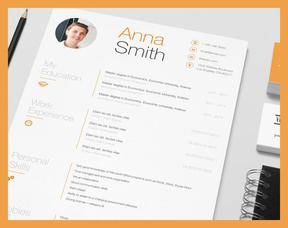 creative resume microsoft word template instant download