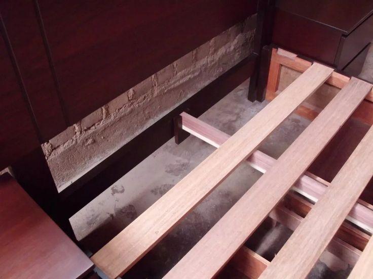 Cama de 2 plazas con cajones laterales en madera tornillo for Sillon cama con cajones