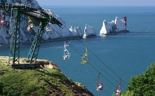 Chairlift down to the Beach, Needle Park, Isle of Wight