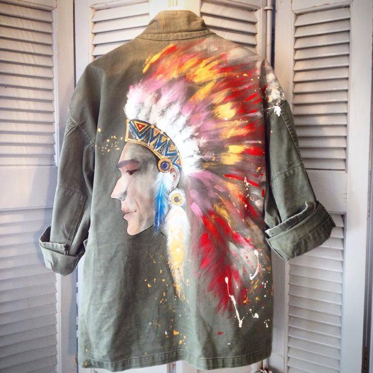 Native Indian hand painted on khaki army jacket
