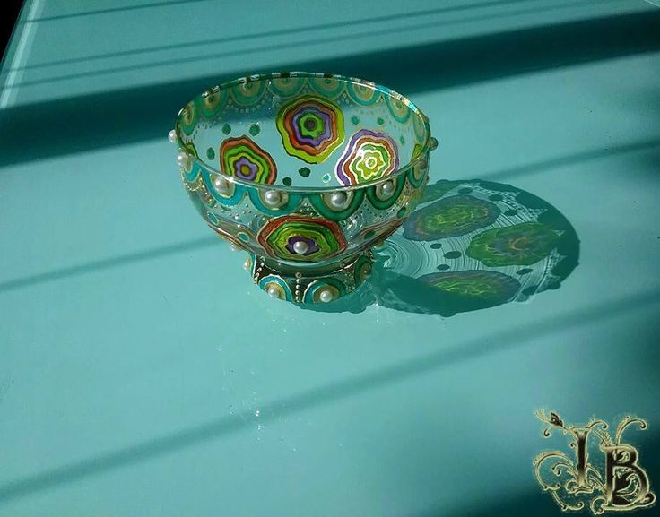 Hand painted candle holder. Stained Glass Effect
