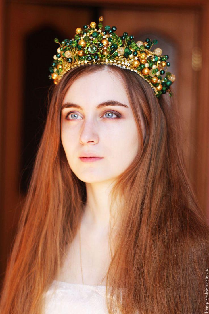 """Купить Корона """"Летняя"""" - зеленый, зелено-золотой, корона, корона для принцессы, корона для фотосессии"""