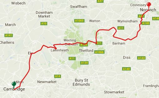 Viewranger GPS files for the Bridge to Norwich Cambridge-Peddars Way-Attleborough-Tas Valley Way-Norwich 5 Stages [150km]