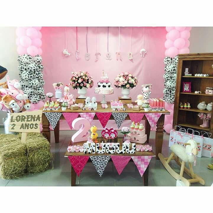 17 melhores ideias sobre festa fazendinha rosa no - Cumple 2 anos decoracion ...