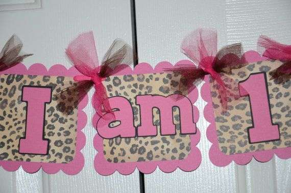 Cheetah Print I am 1 Name Banner Birthday Party  by lisamarDesigns, $25.00