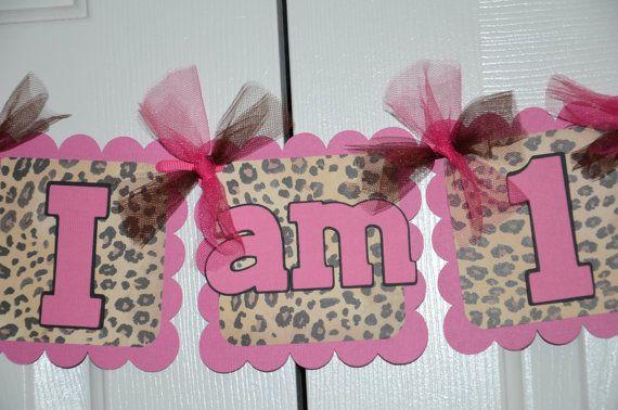 Cheetah Print I am 1 Name Banner Birthday Party  by lisamarDesigns, $25.00